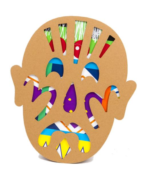 Máscara de cartón con texturas